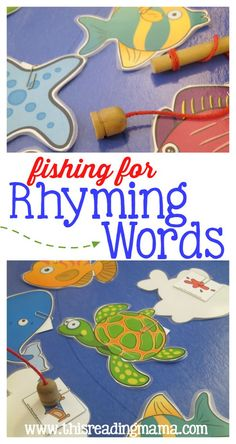 Fishing for Rhyming Words – with FREE Pack Fishing for Rhyming Words – with FREE Printable – This Reading Mama Rhyming Activities, Kindergarten Literacy, Early Literacy, Activities For Kids, Literacy Centers, Phonics Games, Literacy Stations, Emergent Literacy, Reading Centers