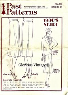PAST PATTERNS 603 - 1930s Skirt sizes 10, 12, 14, 16, 18 inclusive.