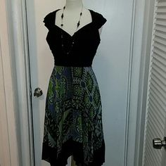 Black and green flowery dress Asymmetrical bottom chiffon dress. sangria Dresses High Low