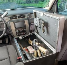 This uses your auto door locks to secure your weapons