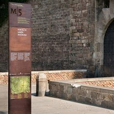 Barcelona Old Roman Wall, well designed rusty signage