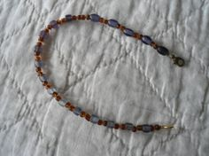 Summer Purple Brown and Yellow Anklet by LandofBridget on Etsy, $5.50