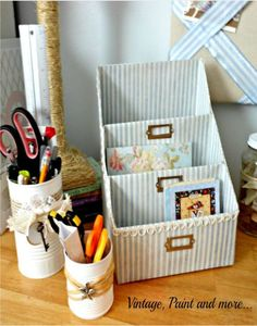 Recycle everyday items to create pretty storage items