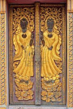 antique wooden carved door Stock Photo