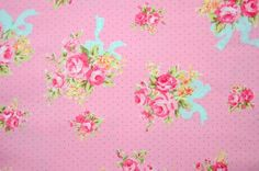 Notions Potions Quilt Patchwork One Yard Fabric English Floral Rose Mini Polka Dot in Pink