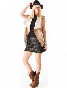 Jupe mit Fransenbändern, schwarz Band, Skater Skirt, Mini Skirts, Fashion, Skirts, Fringes, Black, Moda, Sash