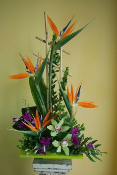 Our Aloha! arrangement gets funky with Birds-of-Paradise.