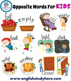 Opposite Words For KIDS - English Study Here Learning English For Kids, English Worksheets For Kids, English Lessons For Kids, Kids English, English Activities, English Language Learning, English Study, Teaching English, Learn English
