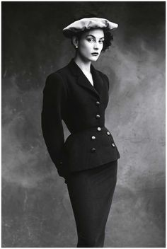 Irving Penn, Balenciaga's favorite model, Colette, in a suit for Vogue, 1950 © The Irving Penn Foundation