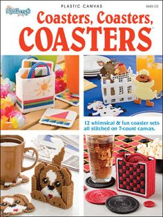 Plastic Canvas - Coasters, Coasters, Coasters - #848512E / these are really cute: cat, ladybug, burger, farm animals, etc. but my favourite is the cute snowman with snowflakes - so adorable! / beginner / ON SALE now / PLASTIC CANVAS/ 12 sets
