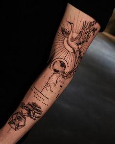 Crane Tattoo, 3 Tattoo, Chest Tattoo, Fire Tattoo, Line Work Tattoo, Fine Line Tattoos, Delicate Tattoo, Ink Art, Sleeve Tattoos