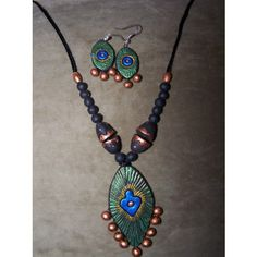 Terracotta Jewelry Set  - Peacock Inspired Design. Single Piece Only. Hand Crafted. SS9