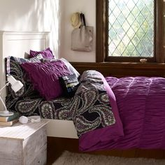 PB Teen Ruched Duvet Cover, Twin, Plum at Pottery Barn Teen - Quilts -... ($50) ❤ liked on Polyvore featuring home, bed & bath, bedding, duvet covers, purple, pbteen, twin bedding, purple twin xl bedding, twin bed linens and purple twin bedding