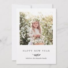 winter botanical with stripes happy new year photo holiday card