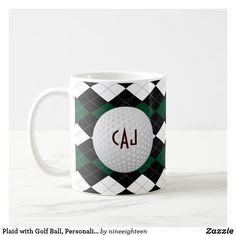 Shop Plaid with Golf Ball, Personalized Coffee Mug created by nineeighteen. Friends Coffee Mug, Funny Coffee Mugs, Funny Mugs, Coffee Gifts, Personalized Coffee Travel Mugs, Personalized Mugs, Golf With Friends, Golf Ball Crafts, Golf Gifts For Men