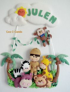 Safari name banner Coco & Canela www.facebook.com/cocoycanela10 Cute Crafts, Felt Crafts, Diy And Crafts, Felt Name Banner, Name Banners, Felt Wreath, Felt Sheets, Felt Baby, Felt Christmas Ornaments