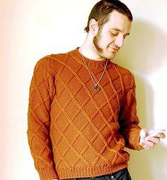 Aran Men Sweater knit men sweater in Pure Merino wool by cosediisa