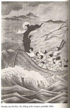 """Stilling of the Tempest"" by Chinese artist Monika Liu Ho-Peh / Luke ""Where is your faith?"" he asked the disciples Catholic Art, Religious Art, Images Du Christ, Christian Artwork, Christian Paintings, Jesus Calms The Storm, Religion Catolica, Deep Art, Jesus Art"