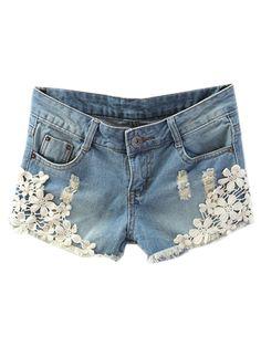 Blue Denim Shorts With Lace Hem