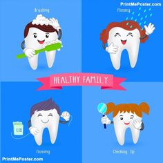 Oral hygiene banners with cute tooth. Brushing, flossing, rinsing and check up. poster Poster of Healthy family tooth. Oral hygiene banners with cute tooth. Brushing, flossing, rinsing and check up. Dental Hygiene School, Dental Humor, Oral Hygiene, Oral Motor Activities, Playdough Activities, Dental Check Up, Dental Posters, Cute Tooth, Emergency Dentist