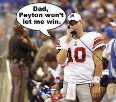 Peyton Manning, Eli Manning - NFL  Even though I don't watch football, I thought this was funny Manning Nfl, Peyton Manning Memes, Football Love, Football Humor, Football Stuff, Denver Broncos Football, Go Broncos, Watch Football, Broncos Fans