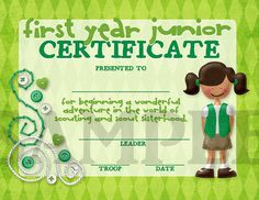 Girl Scouts First Year Junior Printable Certificate