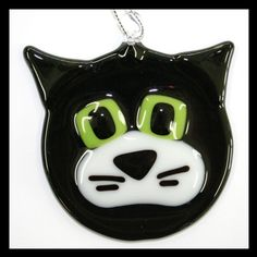 Glassworks Northwest - Black and White Cat - Fused Glass Ornament on Etsy
