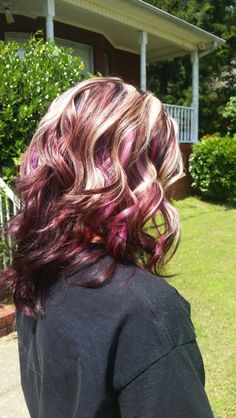 Pavana Wild Orchid and Violet mixed with Red + Paul Mitchell 5RV + 6RV/ 4 dimension block color with chunky Highlights! Hair color by Michelle Tyler McDaniel Birmingham, AL