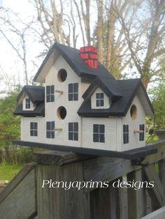 Birdhouse. Miniature dollhouse display. 4 nest folk art bird house.