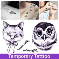 Сова птица кошка татуировки наклейки временные татуировки мужчины женщины взрослых татуировки плеча груди руки макияж краска татуировки наклейки