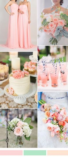 sand pink wedding color ideas and long bridesmaid dresses trends