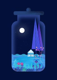 cravefxlab on Tumblr, late August, 2015.  Hashtags: terrarium #2d #illustration #plants #gif