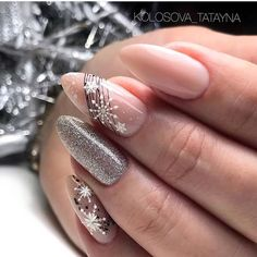 Soft gun metal silver and nude nail polish with winter spidergel nail art ❤. - Soft gun metal silver and nude nail polish with winter spidergel nail art ❤🏆❤ You are in the - Holiday Nail Designs, Winter Nail Designs, Nail Art Designs, Nails Design, Xmas Nails, Holiday Nails, Christmas Nails, Diy Christmas Ornaments, Christmas Lights