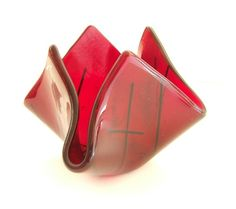 Ruby Red Glass Vase l Candy Dish Bowl l by UneekGlassFusions, $48.00
