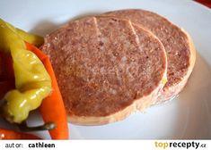 Domácí lančmít recept - TopRecepty.cz Wild Game Recipes, Veg Dishes, Steak, Food And Drink, Beef, Homemade, Canning, Breakfast, Pancakes