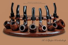 KAF 7 Wooden Stand for 7 Smoking pipes/Showcase Rack/Holder for 7 Tobacco Pipes/Handmade crafted stand for 7 pipes from ASH TREE/Pipa stand by KAFpipeWorkshop on Etsy