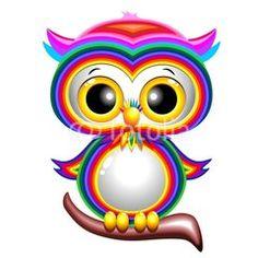 Rainbow Baby Owl Cartoon Gufo Cucciolo Arcobaleno-Vector