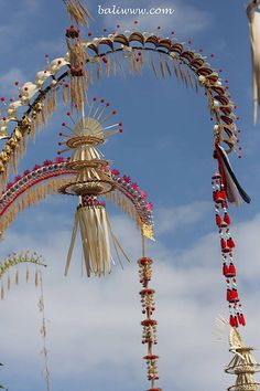 Bali Street decorations called Penjor. Villages are beautifully decorated during religious events and festivals
