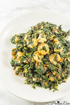 African spinach stew with chicken and shrimp. Simply the best spinach stew recipe ever. Cook time is 30 minutes! Grilled Shrimp Recipes, Chicken And Shrimp Recipes, Seafood Recipes, Cooking Recipes, Healthy Recipes, Cooking Time, Diet Recipes, African Stew, West African Food