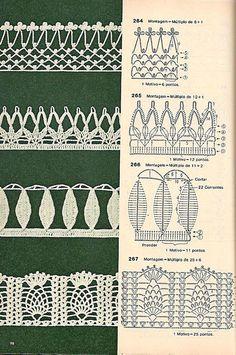 Bicos de crochê com gráficos para download gratuito - Vários bicos de crochê para serem feitos em panos de pratos.