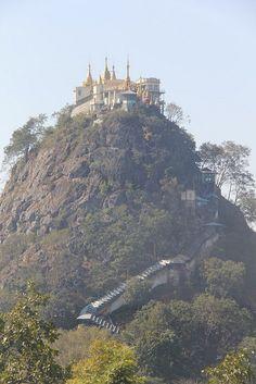 Mt. Popa, Myanmar - Burma - Extinct volcano that last erupted over 320,000 years ago.  Pagoda on top and plenty of monkeys!