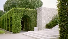 Grassy archway and gorgeous run of what seems to be marble stepping - Gardening Garden Pool, Shade Garden, Garden Landscaping, Formal Gardens, Outdoor Gardens, Landscape Architecture, Landscape Design, Hedging Plants, Hornbeam Hedge