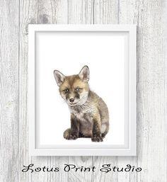 Fox Print Animal Wall Art Nursery decor Kids Room Poster