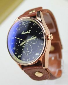 Vintage Retro Style leather watch, men watch Color: Dark blue face, brown leather band Type: Quartz Dial Window Material: Glass Case Material: