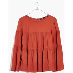 MADEWELL Tiered Button-Back Top ($80) ❤ liked on Polyvore featuring tops, burnished rust, tier top, special occasion tops, red holiday tops, viscose top and madewell