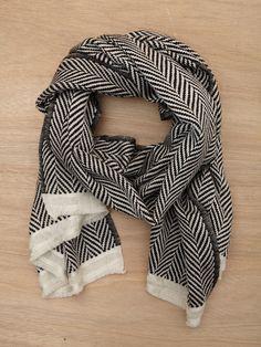 Black & white herringbone scarf.