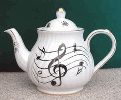 Musical Notes 6 Cup Porcelain Teapot
