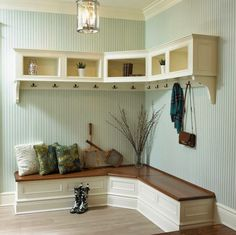 This bench for the mud room but with space for shoes underneath