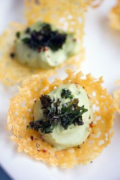 Cheddar Cups with Avocado Feta Mousse