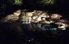Of course you have to light up the water feature at night!  Hard to get good picture with iphone but here it is - low voltage lighting systems are easy to install and maintain.